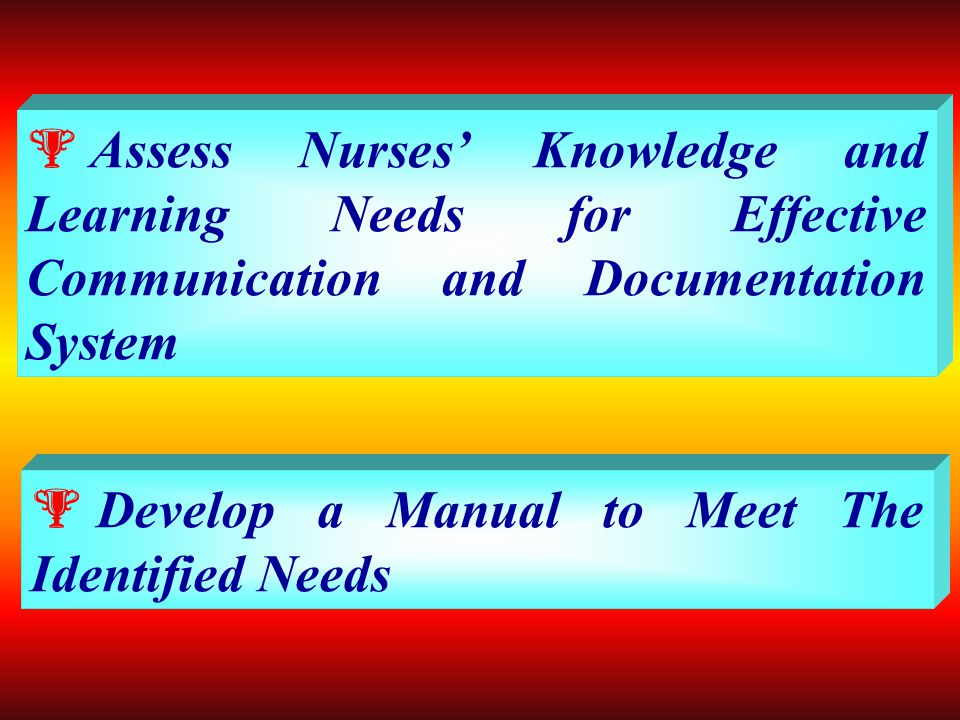  Assess availability of different nursing records and reports currently in use in the General Medical & Surgical units of Alexandria Main University Hospital and pattern of Documentation.