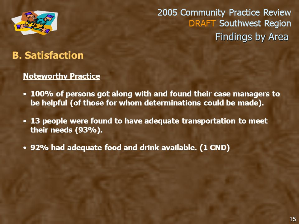2005 Community Practice Review DRAFT Southwest Region 15 B.