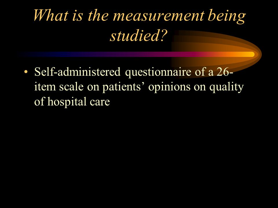 What is the measurement being studied.