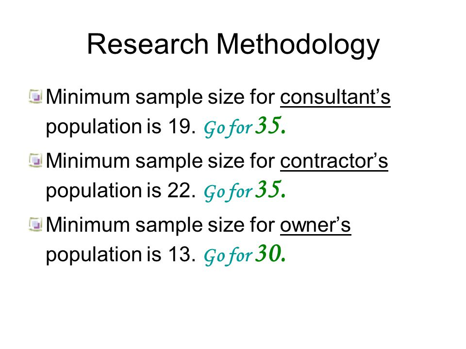 Research Methodology Minimum sample size for consultant's population is 19.