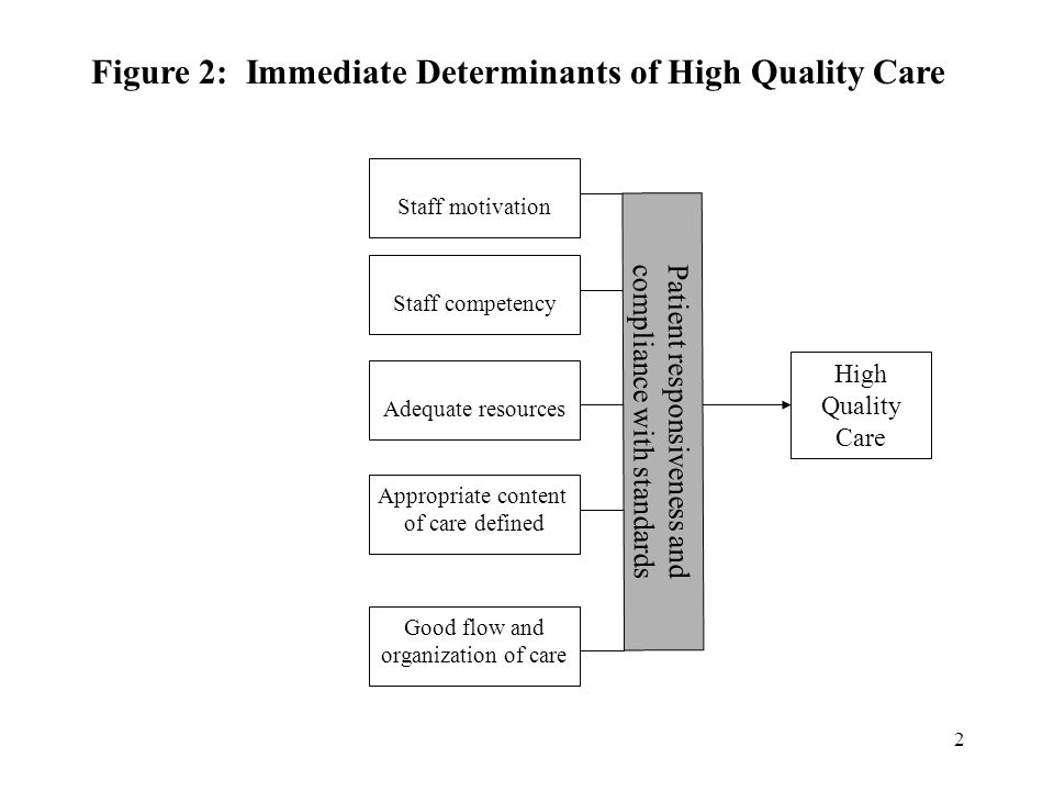 2 High Quality Care Staff motivation Staff competency Adequate resources Appropriate content of care defined Good flow and organization of care Figure 2: Immediate Determinants of High Quality Care Patient responsiveness and compliance with standards