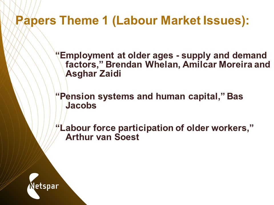 Papers Theme 1 (Labour Market Issues): Employment at older ages - supply and demand factors, Brendan Whelan, Amilcar Moreira and Asghar Zaidi Pension systems and human capital, Bas Jacobs Labour force participation of older workers, Arthur van Soest