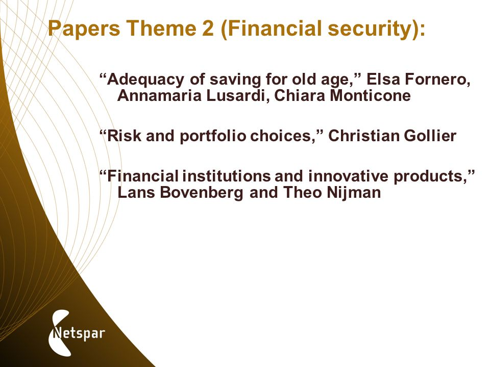 Papers Theme 2 (Financial security): Adequacy of saving for old age, Elsa Fornero, Annamaria Lusardi, Chiara Monticone Risk and portfolio choices, Christian Gollier Financial institutions and innovative products, Lans Bovenberg and Theo Nijman