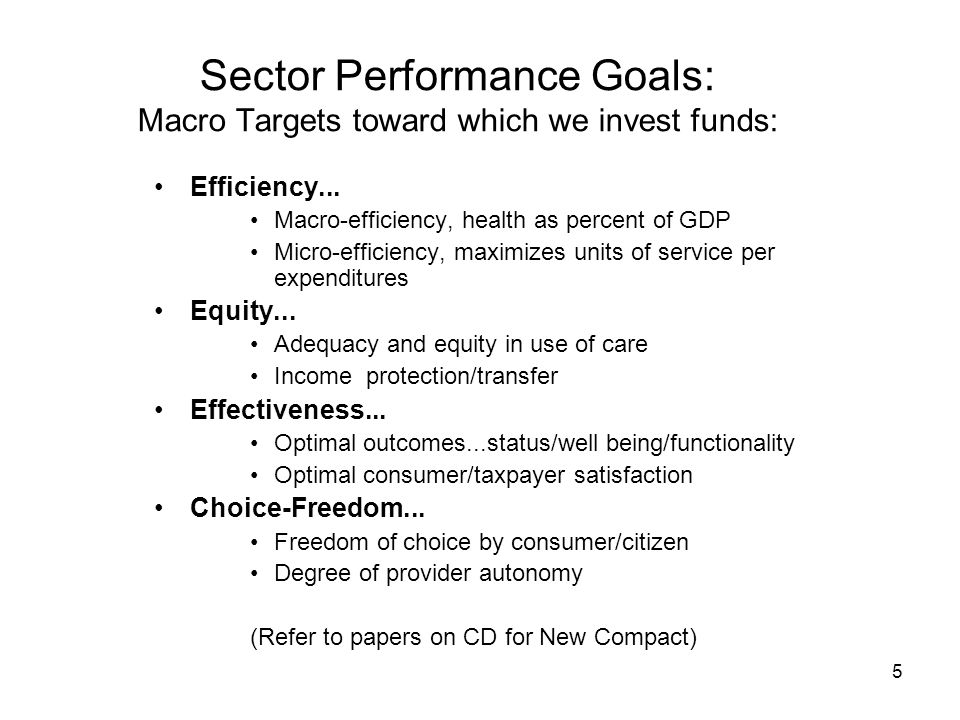 5 Sector Performance Goals: Macro Targets toward which we invest funds: Efficiency...