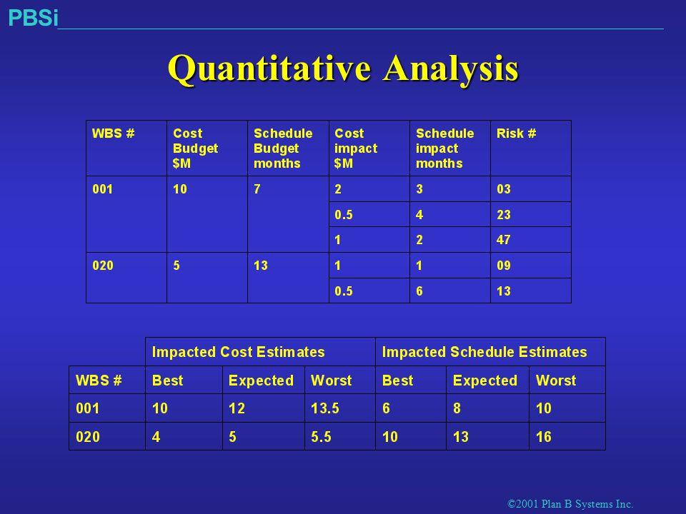 ©2001 Plan B Systems Inc. PBSi Quantitative Analysis