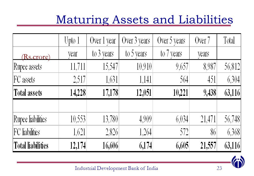Maturing Assets and Liabilities Industrial Development Bank of India23 (Rs.crore)