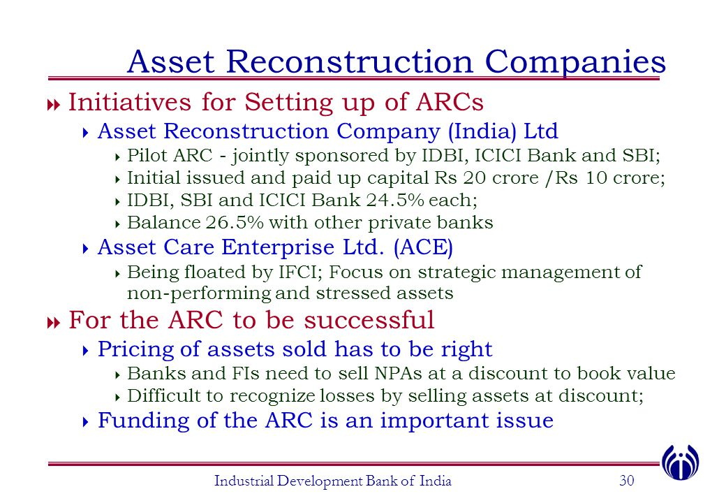 Industrial Development Bank of India30 Asset Reconstruction Companies  Initiatives for Setting up of ARCs  Asset Reconstruction Company (India) Ltd