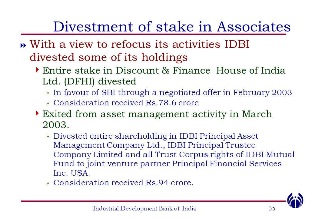 Industrial Development Bank of India35 Divestment of stake in Associates  With a view to refocus its activities IDBI divested some of its holdings 