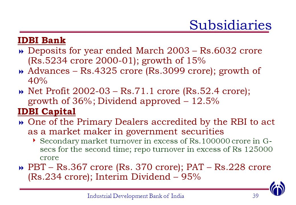 Industrial Development Bank of India39 Subsidiaries IDBI Bank  Deposits for year ended March 2003 – Rs.6032 crore (Rs.5234 crore 2000-01); growth of