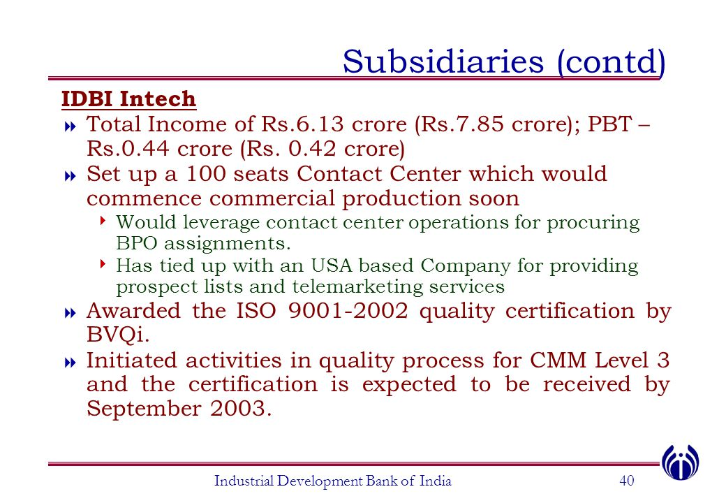 Industrial Development Bank of India40 Subsidiaries (contd) IDBI Intech  Total Income of Rs.6.13 crore (Rs.7.85 crore); PBT – Rs.0.44 crore (Rs. 0.42