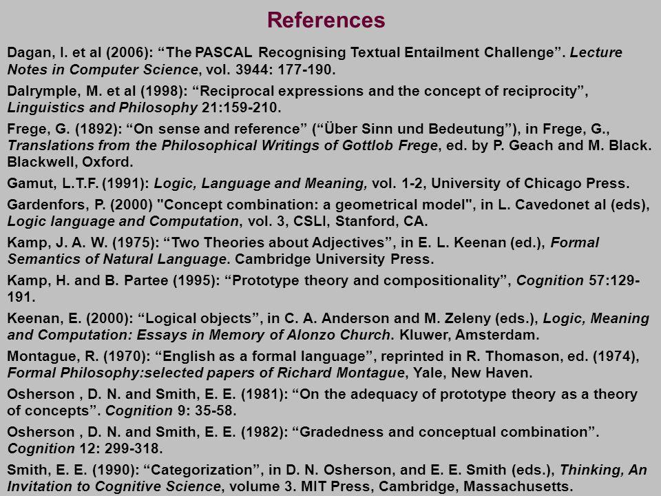 "Dagan, I. et al (2006): ""The PASCAL Recognising Textual Entailment Challenge"". Lecture Notes in Computer Science, vol. 3944: 177-190. Dalrymple, M. et"