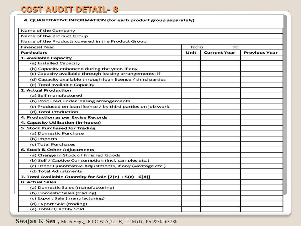COST AUDIT DETAIL- 8 Swajan K Sen, Mech Engg,, F.I.C.W.A, LL.B, LL.M (I), Ph 9830563280