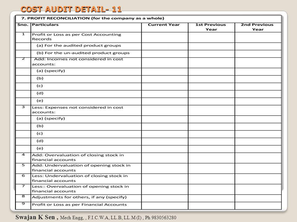 COST AUDIT DETAIL- 11 Swajan K Sen, Mech Engg,, F.I.C.W.A, LL.B, LL.M (I), Ph 9830563280