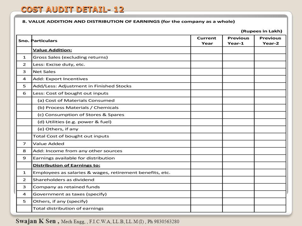 COST AUDIT DETAIL- 12 Swajan K Sen, Mech Engg,, F.I.C.W.A, LL.B, LL.M (I), Ph 9830563280