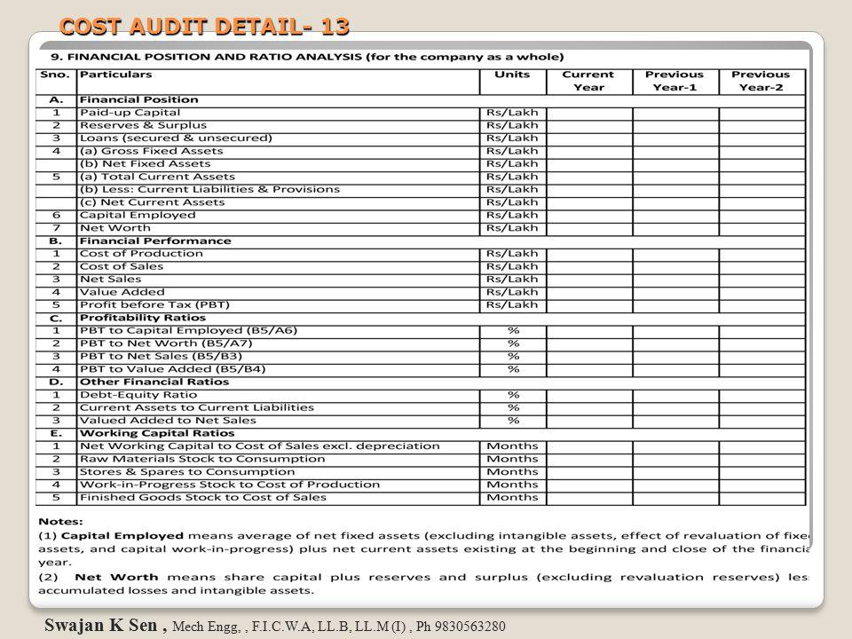 COST AUDIT DETAIL- 13 Swajan K Sen, Mech Engg,, F.I.C.W.A, LL.B, LL.M (I), Ph 9830563280