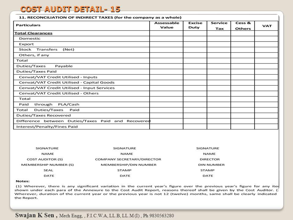 COST AUDIT DETAIL- 15 Swajan K Sen, Mech Engg,, F.I.C.W.A, LL.B, LL.M (I), Ph 9830563280