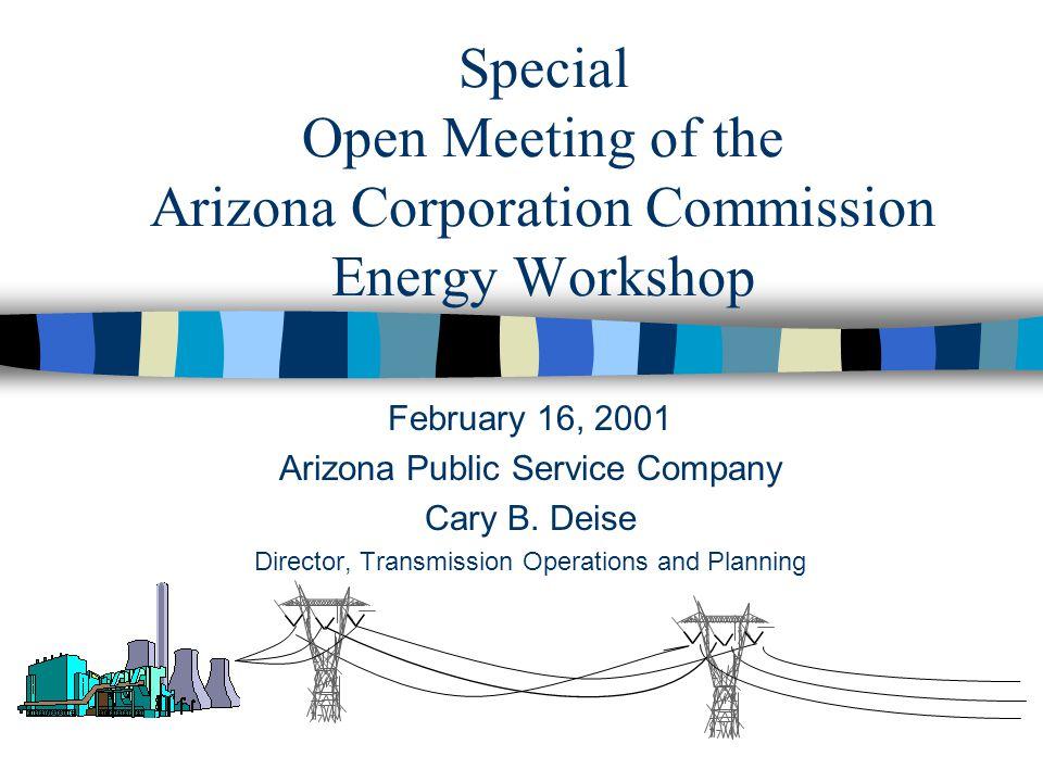 Special Open Meeting of the Arizona Corporation Commission Energy Workshop February 16, 2001 Arizona Public Service Company Cary B.