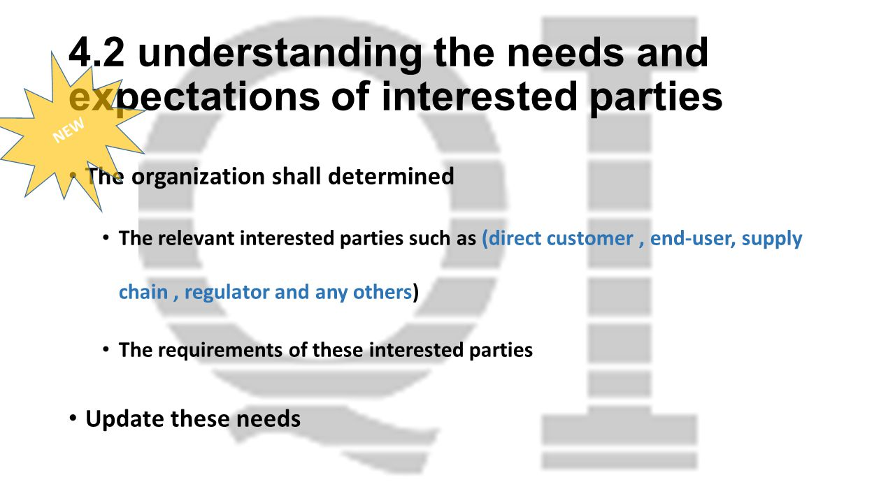 4.2 understanding the needs and expectations of interested parties The organization shall determined The relevant interested parties such as (direct customer, end-user, supply chain, regulator and any others) The requirements of these interested parties Update these needs NEW