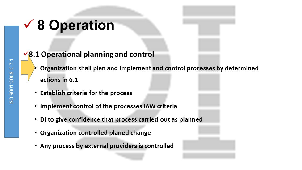 8 Operation 8.1 Operational planning and control Organization shall plan and implement and control processes by determined actions in 6.1 Establish cr