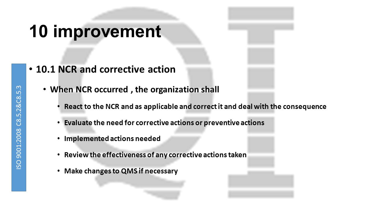 10 improvement 10.1 NCR and corrective action When NCR occurred, the organization shall React to the NCR and as applicable and correct it and deal wit