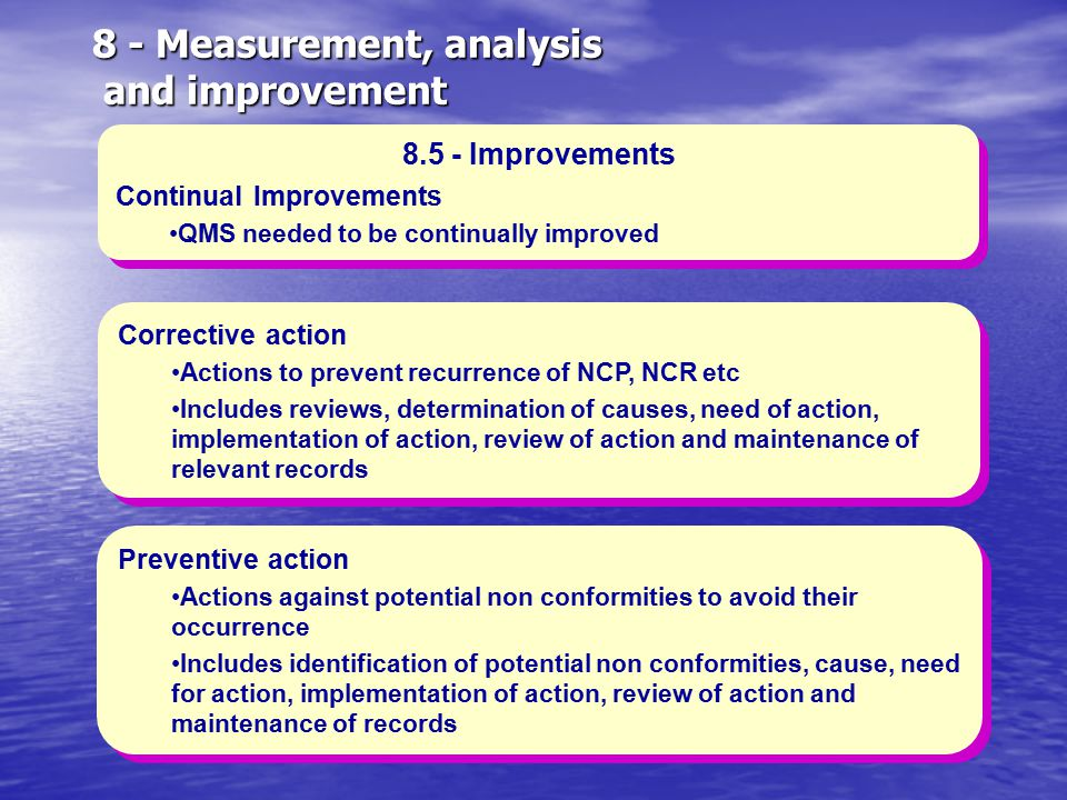 8 - Measurement, analysis and improvement 8.5 - Improvements Continual Improvements QMS needed to be continually improved 8.5 - Improvements Continual