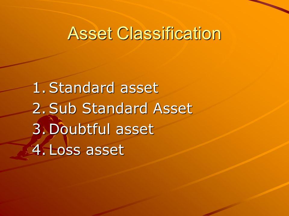 Asset Classification 1.Standard asset 2.Sub Standard Asset 3.Doubtful asset 4.Loss asset