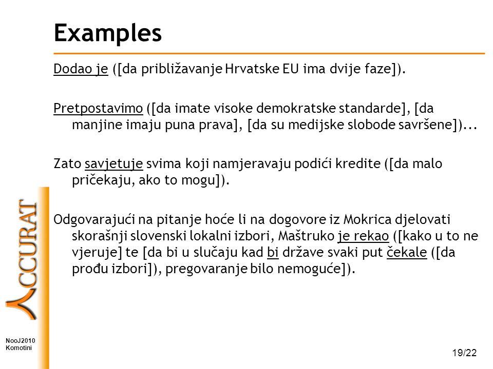 NooJ2010 Komotini 19/22 Examples Dodao je ([da približavanje Hrvatske EU ima dvije faze]).