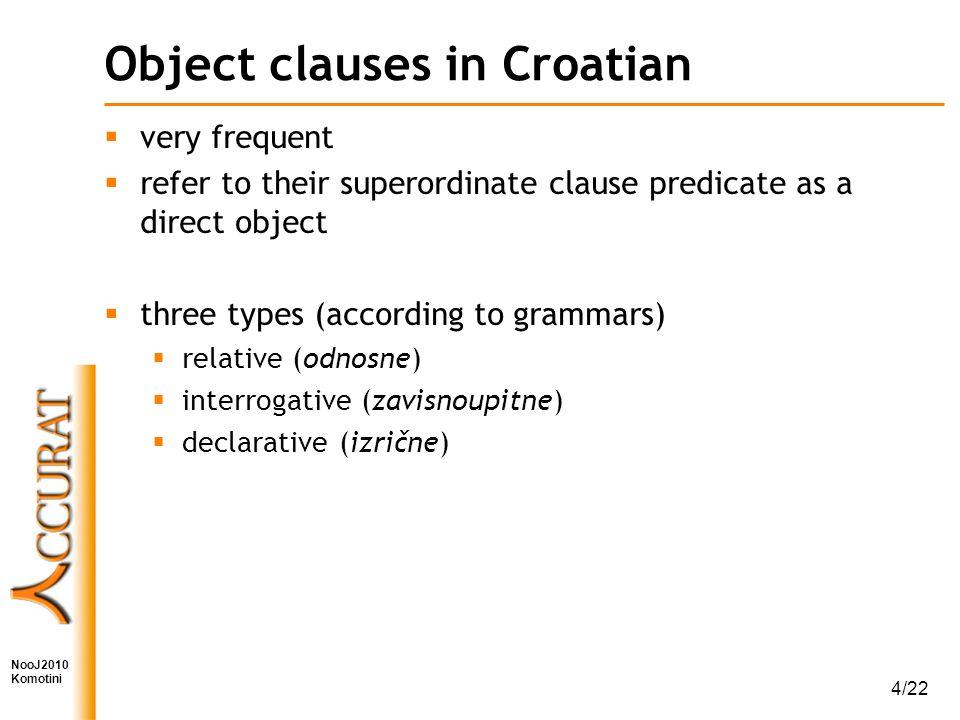NooJ2010 Komotini 4/22 Object clauses in Croatian  very frequent  refer to their superordinate clause predicate as a direct object  three types (according to grammars)  relative (odnosne)  interrogative (zavisnoupitne)  declarative (izrične)
