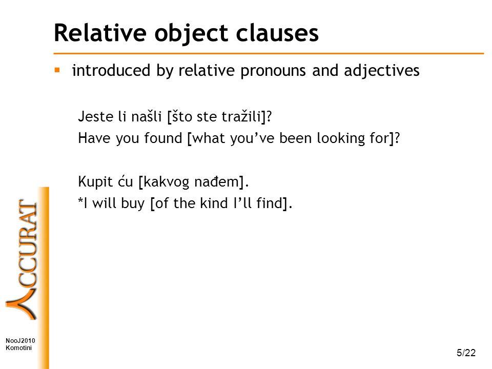 NooJ2010 Komotini 5/22 Relative object clauses  introduced by relative pronouns and adjectives Jeste li našli [što ste tražili].