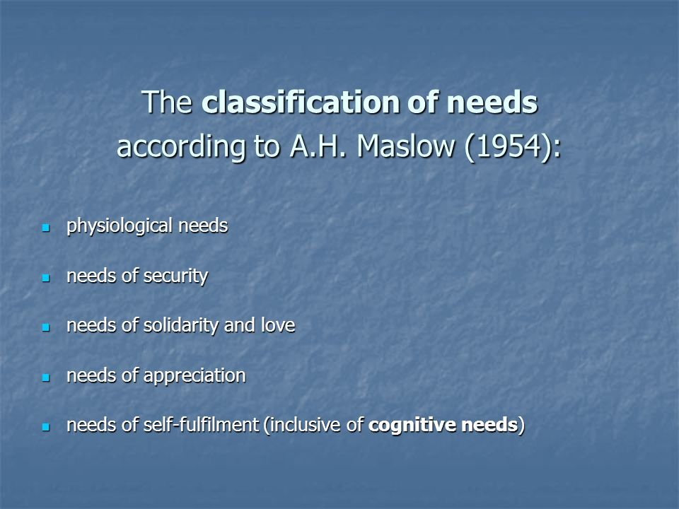 The classification of needs according to A.H.