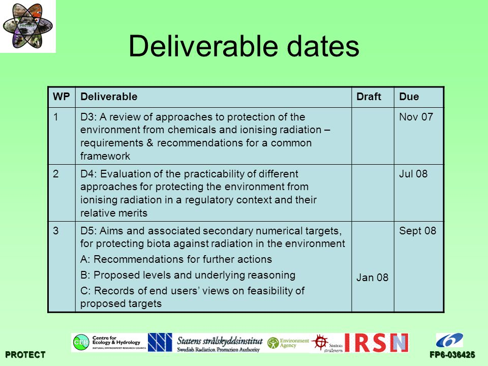PROTECTFP6-036425 Deliverable dates WPDeliverableDraftDue 1D3: A review of approaches to protection of the environment from chemicals and ionising rad
