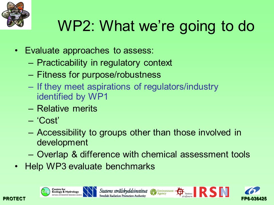 PROTECTFP6-036425 WP2: What we're going to do Evaluate approaches to assess: –Practicability in regulatory context –Fitness for purpose/robustness –If they meet aspirations of regulators/industry identified by WP1 –Relative merits –'Cost' –Accessibility to groups other than those involved in development –Overlap & difference with chemical assessment tools Help WP3 evaluate benchmarks