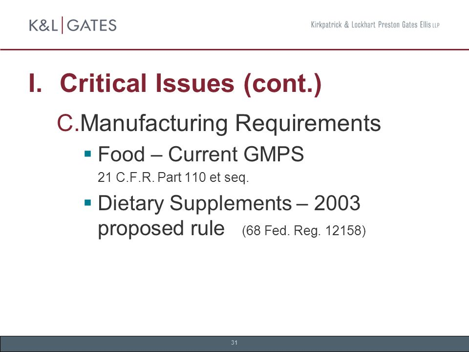 31 I. Critical Issues (cont.)  Manufacturing Requirements  Food – Current GMPS 21 C.F.R.