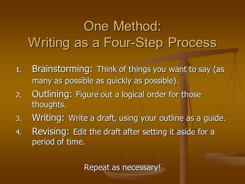 One Method: Writing as a Four-Step Process 1.