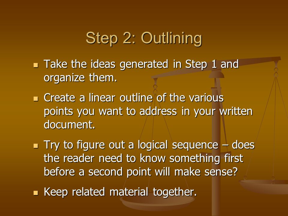 Step 3: Writing Using the outline drawn up in Step 2, start to create your written document.