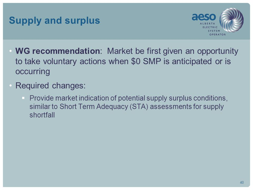 40 Supply and surplus WG recommendation: Market be first given an opportunity to take voluntary actions when $0 SMP is anticipated or is occurring Required changes:  Provide market indication of potential supply surplus conditions, similar to Short Term Adequacy (STA) assessments for supply shortfall