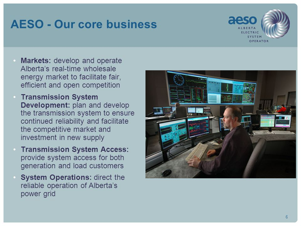 6 AESO - Our core business Markets: develop and operate Alberta's real-time wholesale energy market to facilitate fair, efficient and open competition Transmission System Development: plan and develop the transmission system to ensure continued reliability and facilitate the competitive market and investment in new supply Transmission System Access: provide system access for both generation and load customers System Operations: direct the reliable operation of Alberta's power grid