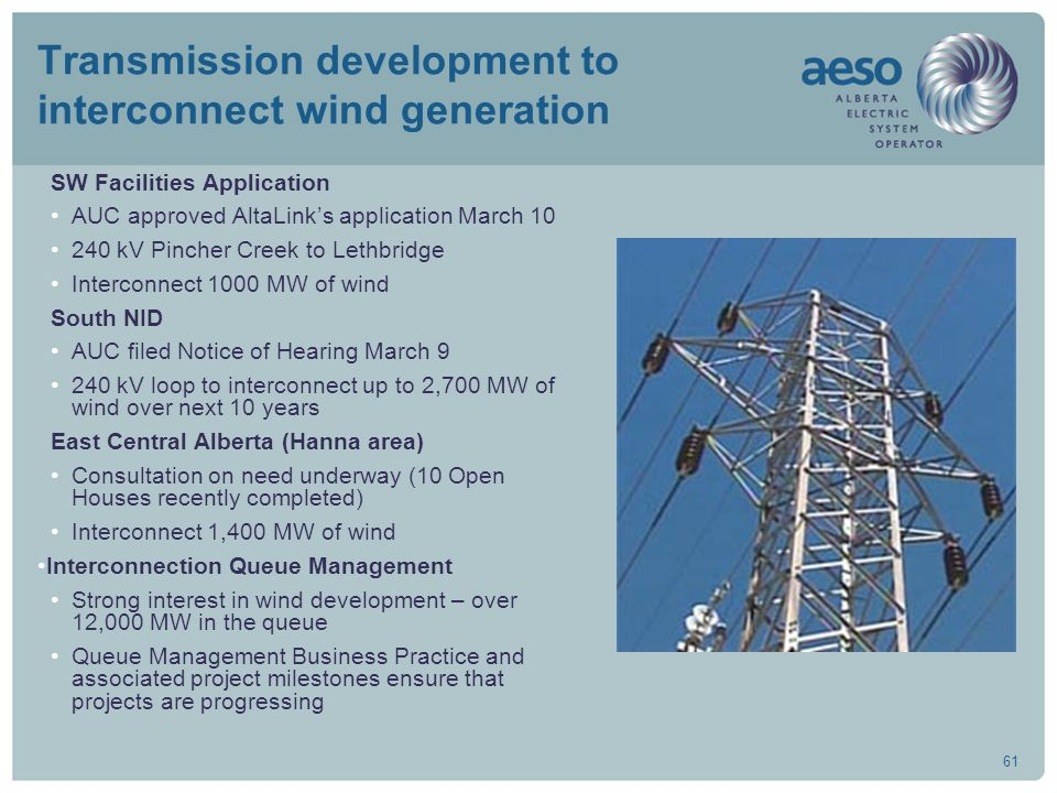 61 Transmission development to interconnect wind generation SW Facilities Application AUC approved AltaLink's application March 10 240 kV Pincher Cree