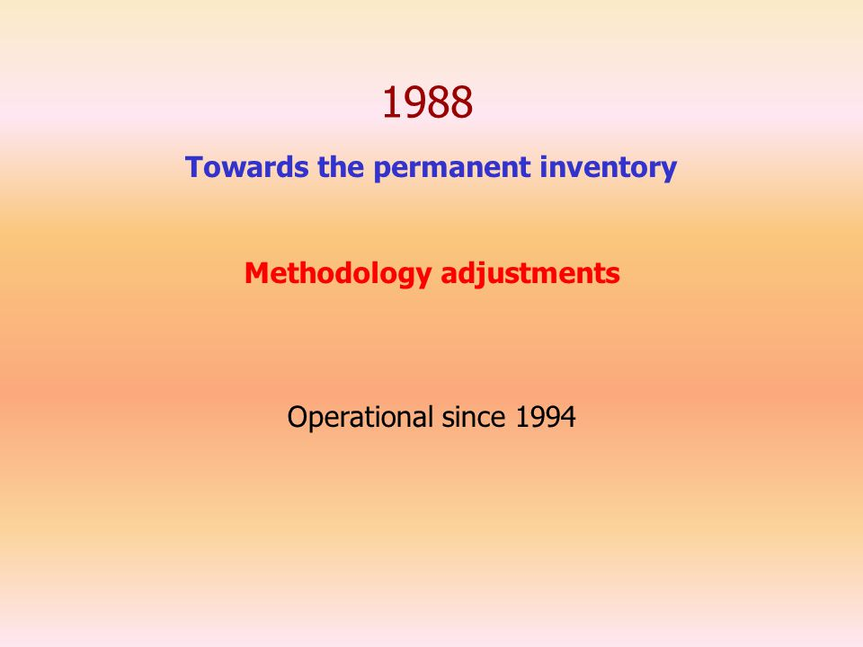 1988 Towards the permanent inventory Operational since 1994 Methodology adjustments