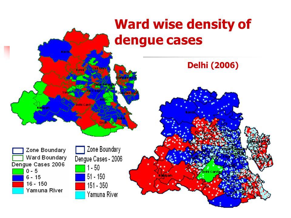 Ward wise density of dengue cases Delhi (2006)