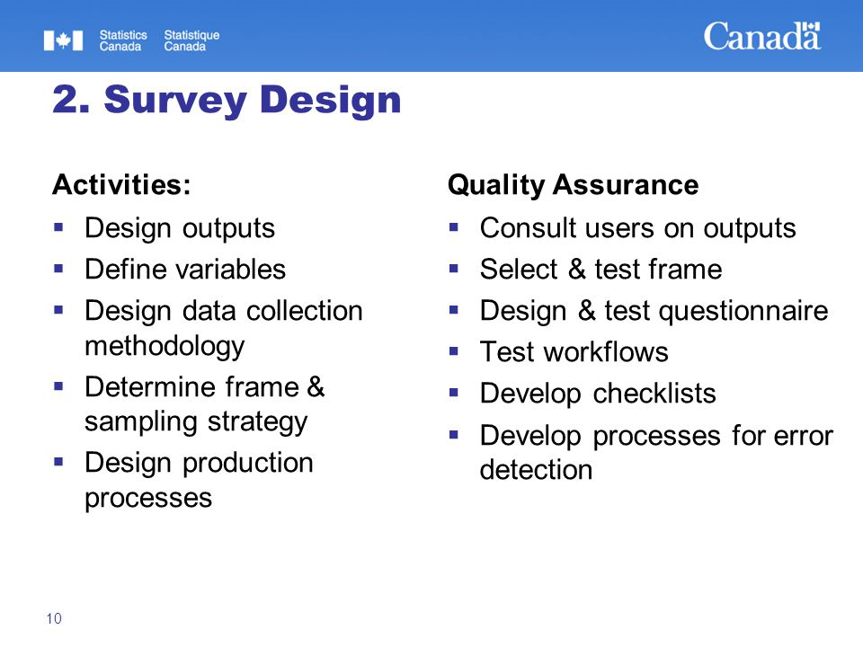 2. Survey Design Activities:  Design outputs  Define variables  Design data collection methodology  Determine frame & sampling strategy  Design p