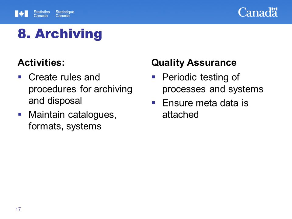 8. Archiving Activities:  Create rules and procedures for archiving and disposal  Maintain catalogues, formats, systems Quality Assurance  Periodic