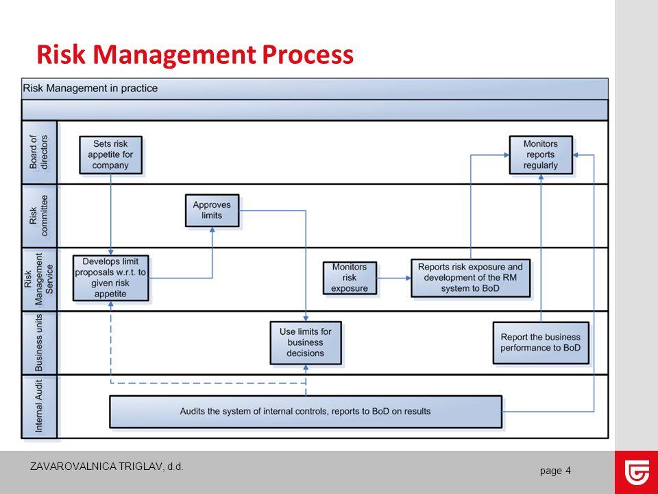ZAVAROVALNICA TRIGLAV, d.d. page 4 Risk Management Process