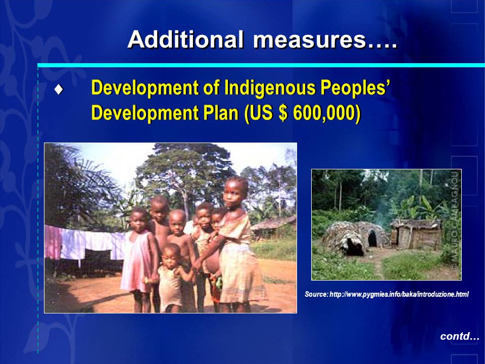  Development of Indigenous Peoples' Development Plan (US $ 600,000) Additional measures….