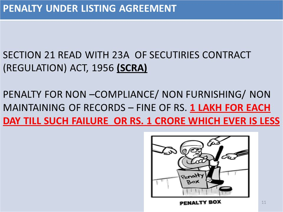 PENALTY UNDER LISTING AGREEMENT SECTION 21 READ WITH 23A OF SECUTIRIES CONTRACT (REGULATION) ACT, 1956 (SCRA) PENALTY FOR NON –COMPLIANCE/ NON FURNISH