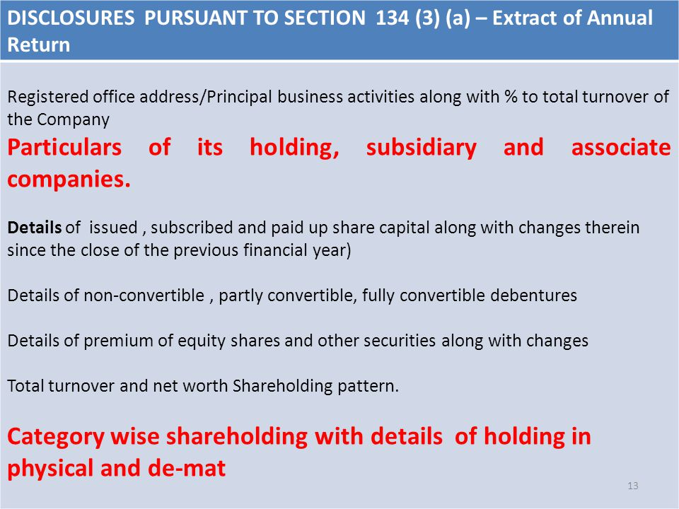 DISCLOSURES PURSUANT TO SECTION 134 (3) (a) – Extract of Annual Return Registered office address/Principal business activities along with % to total turnover of the Company Particulars of its holding, subsidiary and associate companies.