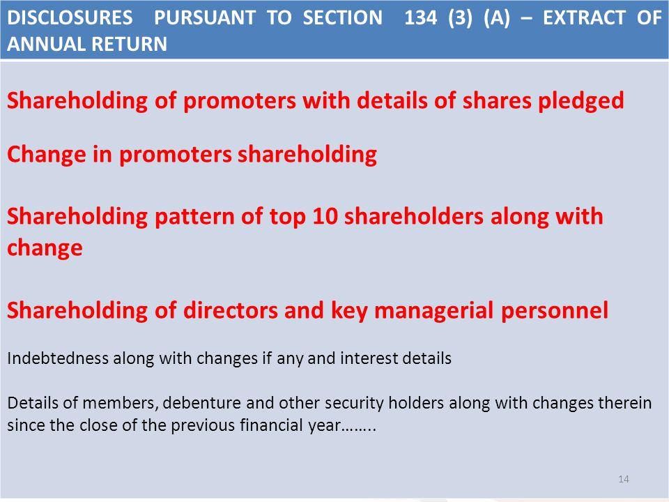 DISCLOSURES PURSUANT TO SECTION 134 (3) (A) – EXTRACT OF ANNUAL RETURN Shareholding of promoters with details of shares pledged Change in promoters sh