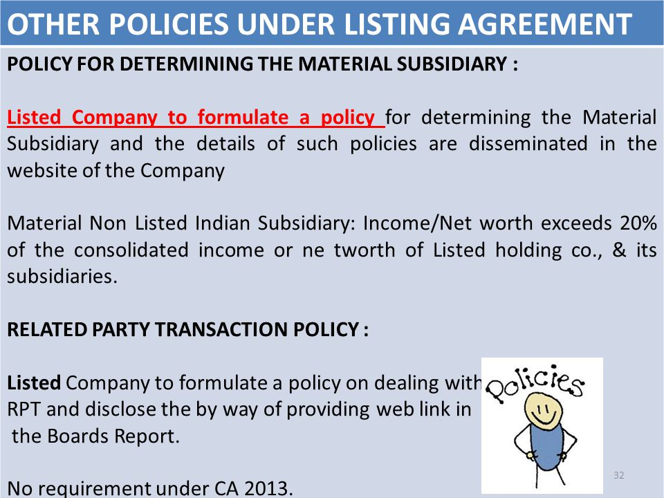 OTHER POLICIES UNDER LISTING AGREEMENT POLICY FOR DETERMINING THE MATERIAL SUBSIDIARY : Listed Company to formulate a policy for determining the Mater