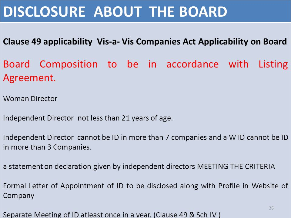 DISCLOSURE ABOUT THE BOARD Clause 49 applicability Vis-a- Vis Companies Act Applicability on Board Board Composition to be in accordance with Listing