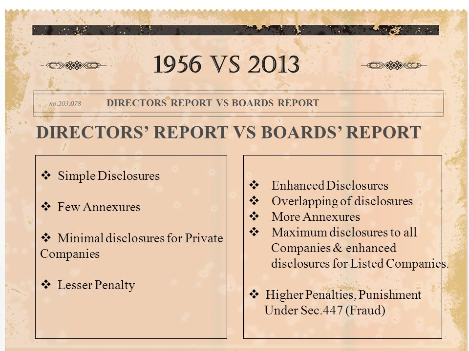 DIRECTORS' REPORT VS BOARDS' REPORT  Simple Disclosures  Few Annexures  Minimal disclosures for Private Companies  Lesser Penalty 1956 vs 2013 DIRECTORS REPORT VS BOARDS REPORT  Enhanced Disclosures  Overlapping of disclosures  More Annexures  Maximum disclosures to all Companies & enhanced disclosures for Listed Companies.